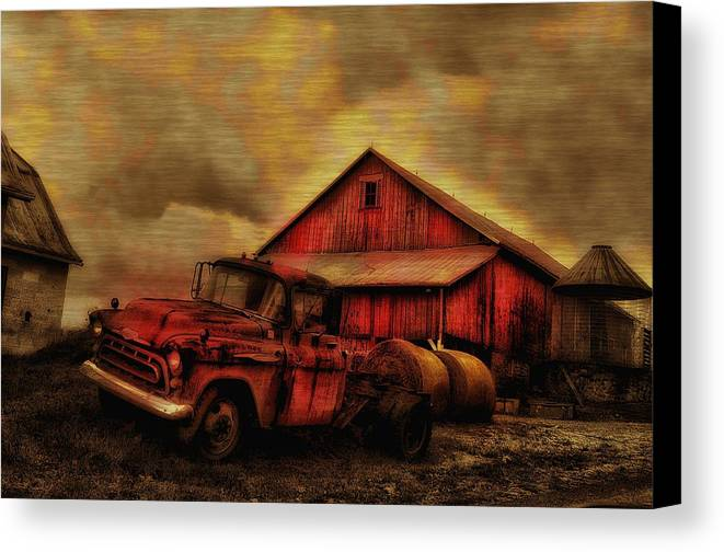 Old Red Truck And Barn Canvas Print / Canvas Art by Bill ...