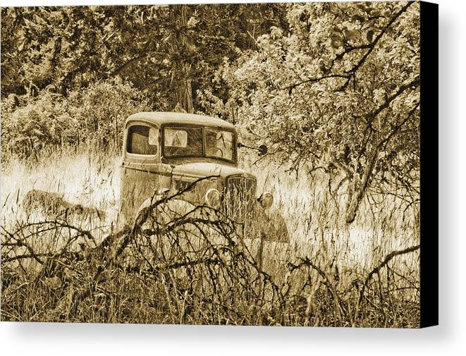 Vintage Canvas Print featuring the photograph Old Truck by Linda McRae