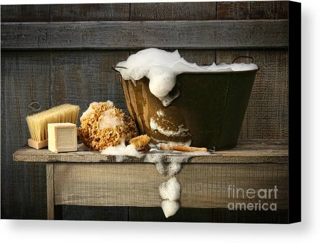 Antique Canvas Print featuring the digital art Old Wash Tub With Soap On Bench by Sandra Cunningham