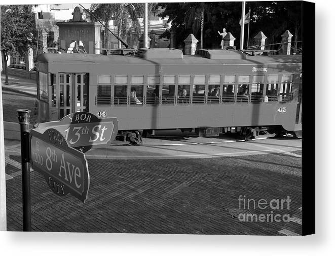 Ybor City Florida Canvas Print featuring the photograph Old Ybor City Trolley by David Lee Thompson