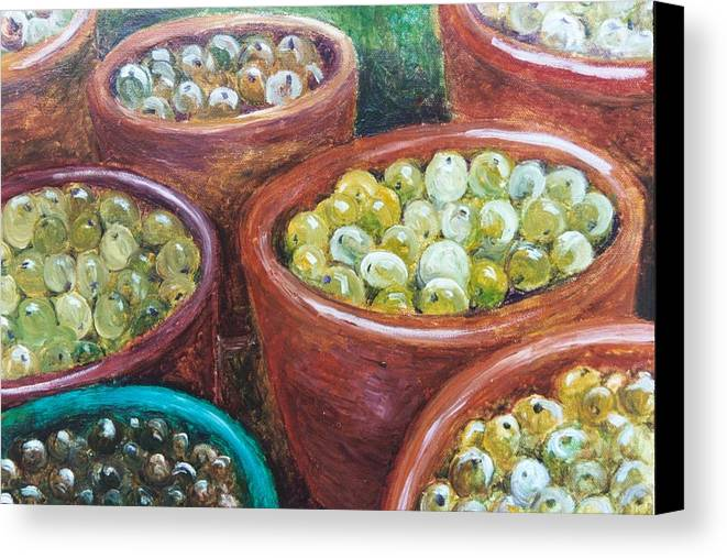 Olives Canvas Print featuring the painting Olives By The Crock by Jun Jamosmos