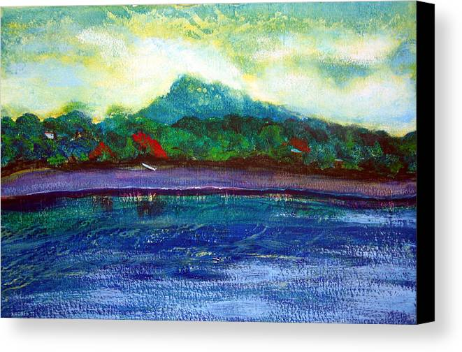 Volcano Canvas Print featuring the painting Ometepe Island 1 by Sarah Hornsby