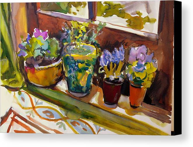 Flowers Canvas Print featuring the painting On My Courtyard Step by Doranne Alden