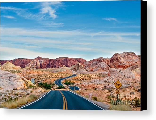 Landscape Canvas Print featuring the photograph On The Road - Valley Of Fire by Carl Jackson