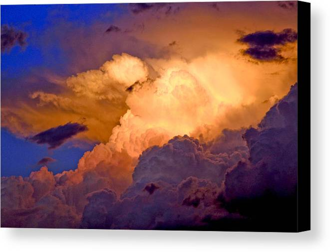Fine Art Clouds Picture. Fine Art Greetig Cards. Sunset Greeting Cards. Fin Art Sunset Greeting Cards. Sunset Canvas Prints. Red Clouds. Fine Art Sky And Cloud Picture. Fine Art Storm Picture. Blue Sky. Rain Clouds.sunset Picture. Weather Clouds. Summer Clouds.  Canvas Print featuring the photograph One Cloudy Afternoon by James Steele