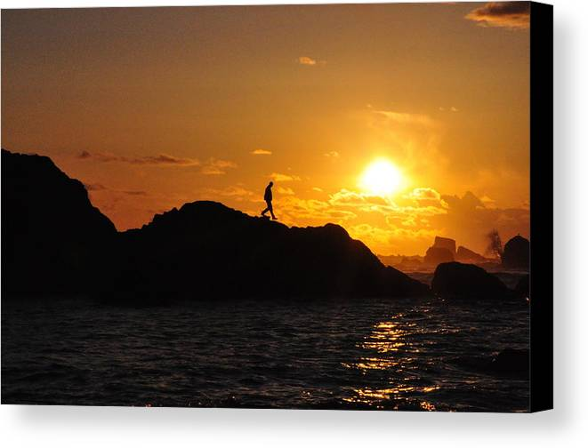 Sunset Canvas Print featuring the photograph One Step At A Time by Peter Schumacher