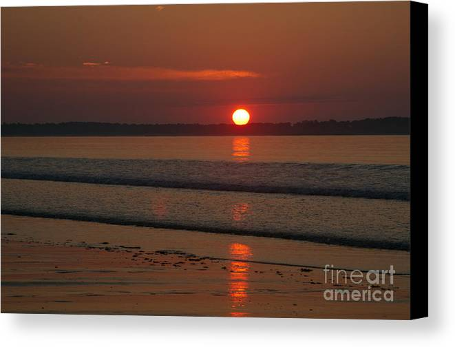 Shore Canvas Print featuring the photograph Oob Sunrise 2 by Ray Konopaske