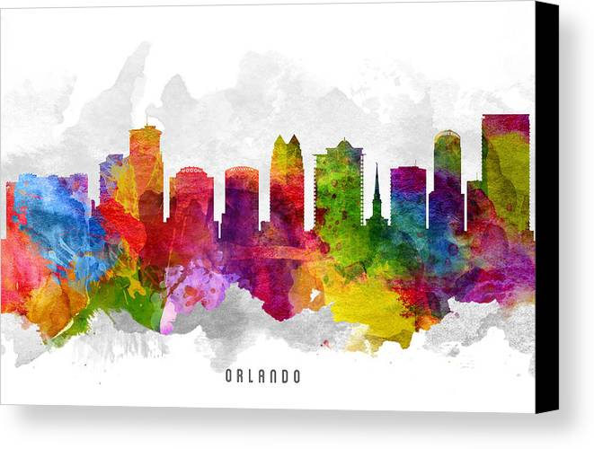 Orlando Canvas Print featuring the painting Orlando Florida Cityscape 13 by Aged Pixel
