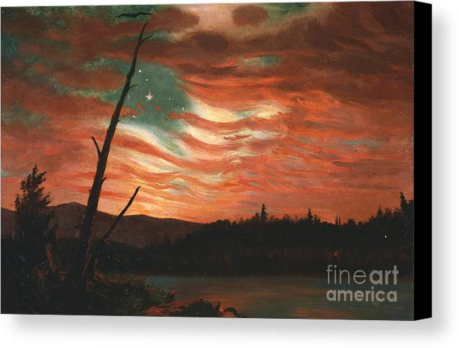 Our Canvas Print featuring the painting Our Banner In The Sky by Frederic Edwin Church