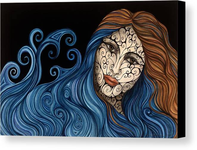 Figurative Canvas Print featuring the painting Out Of The Blue by Tina Blondell