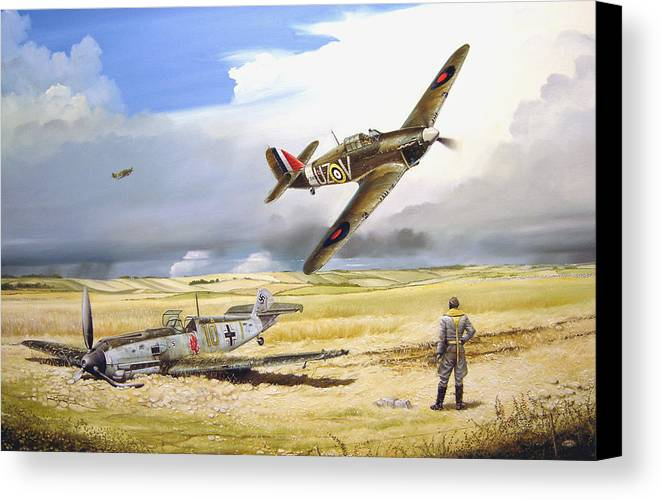 Painting Canvas Print featuring the painting Outgunned by Marc Stewart