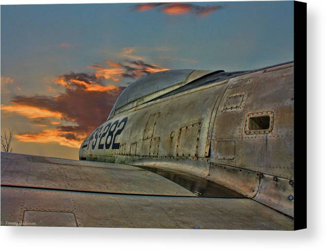 Republic F-84g Thunderjet Canvas Print featuring the photograph Over The Shoulder F-84g by Tommy Anderson