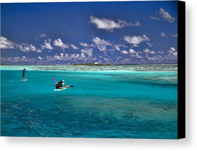 Moorea Canvas Print featuring the photograph Paddling In Moorea by David Smith