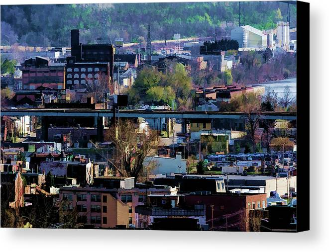 Landscape Canvas Print featuring the photograph Painted City by Scott Bryan