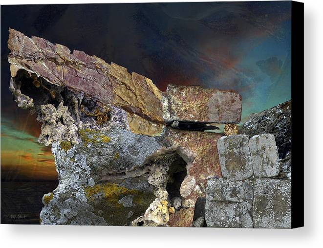 Fantasy Canvas Print featuring the digital art Painted Cliff by Helga Schmitt