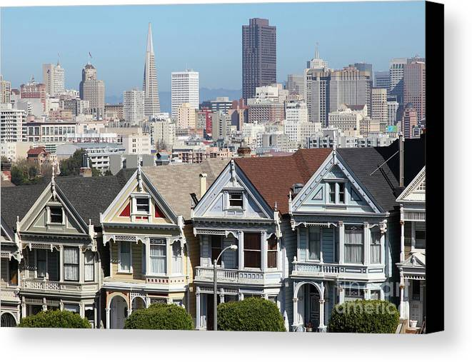 Wingsdomain Canvas Print featuring the photograph Painted Ladies Of Alamo Square San Francisco California 5d27996v2 by Wingsdomain Art and Photography