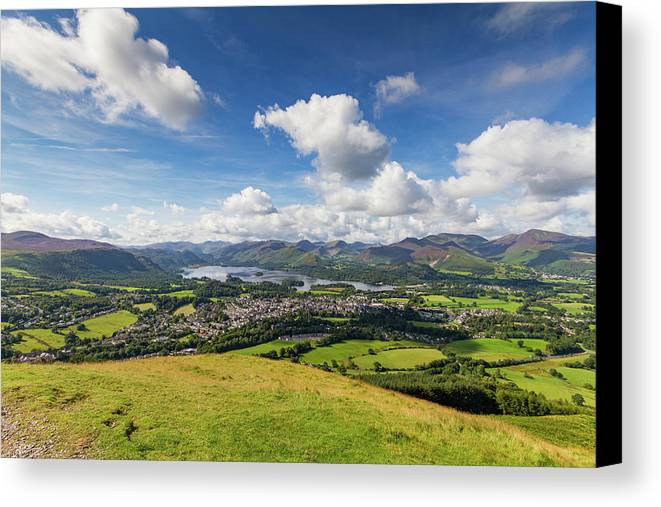 Cumbria Lake District Canvas Print featuring the photograph Panorama Of Keswick And Lake Derwent Water Panorama From Latrigg by Iordanis Pallikaras