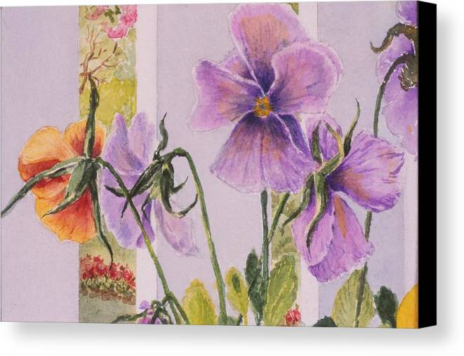 Florals Canvas Print featuring the painting Pansies On My Porch by Mary Ellen Mueller Legault