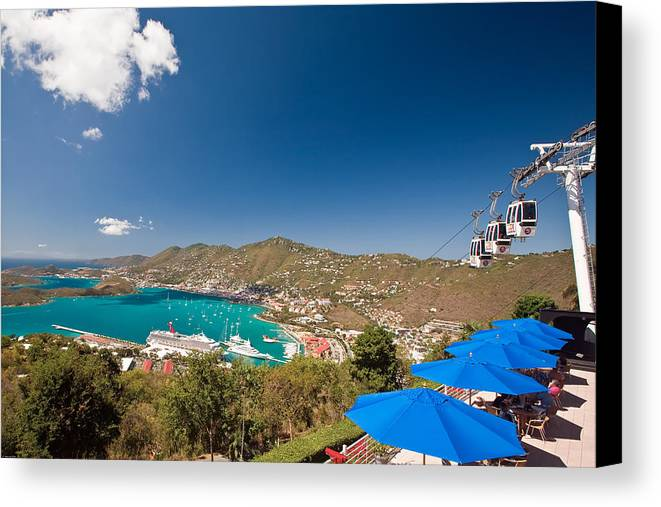 Aerial Tramway Canvas Print featuring the photograph Paradise Point View Of Charlotte Amalie Saint Thomas Us Virgin Islands by George Oze