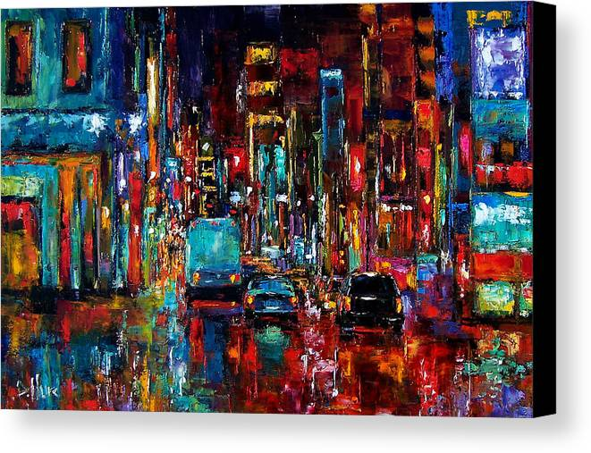 Cityscape Canvas Print featuring the painting Party Of Lights by Debra Hurd