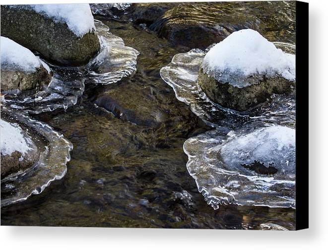 Jean Noren Canvas Print featuring the photograph Path Through The Ice by Jean Noren