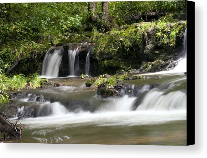 Water Canvas Print featuring the photograph Peaceful Waterfall by Tina B Hamilton