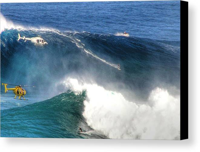 Jaws Maui Surfing Tow In Big Waves Extreme Surfers Helicopters Canvas Print featuring the photograph Peahi Maui by Dustin K Ryan
