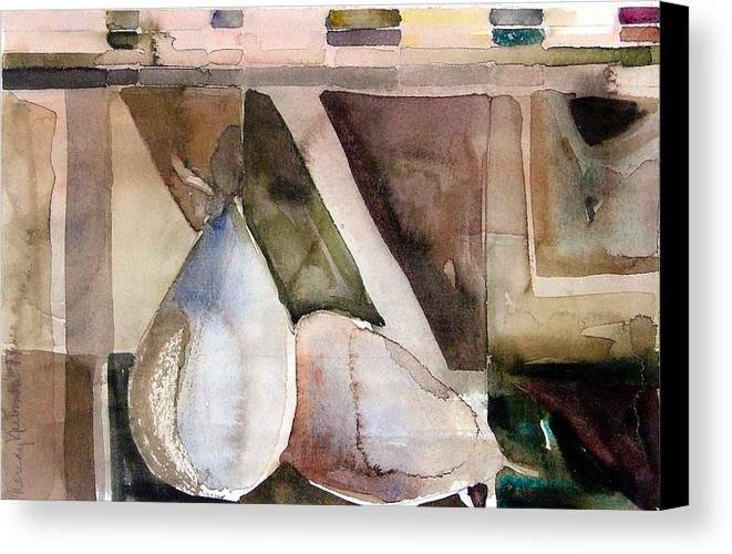 Pear Canvas Print featuring the painting Pear Study In Watercolor by Mindy Newman