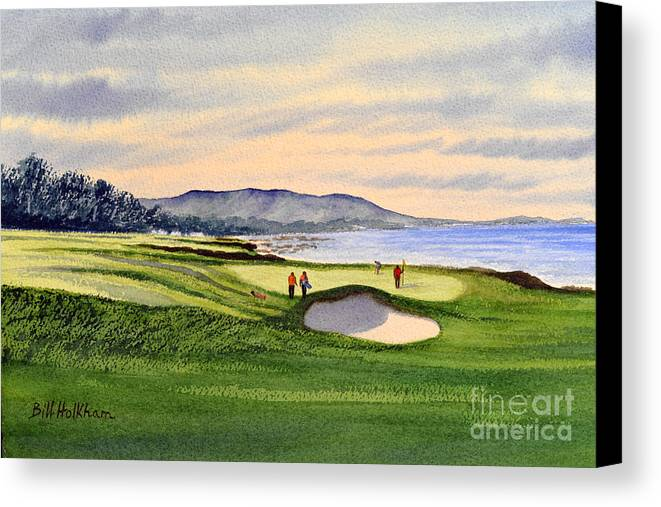 Golf Canvas Print featuring the painting Pebble Beach Golf Course by Bill Holkham