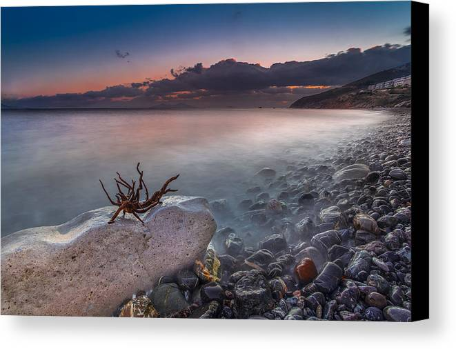 Sky Canvas Print featuring the photograph Pebble Beach by Mike Drosos