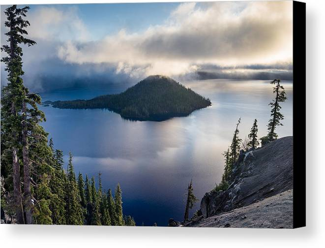 Crater Lake Canvas Print featuring the photograph Peering At The Wizard by Greg Nyquist