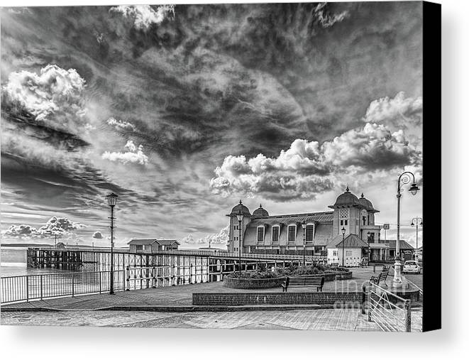 Penarth Pier Canvas Print featuring the photograph Penarth Pier Morning Light 1 Mono by Steve Purnell