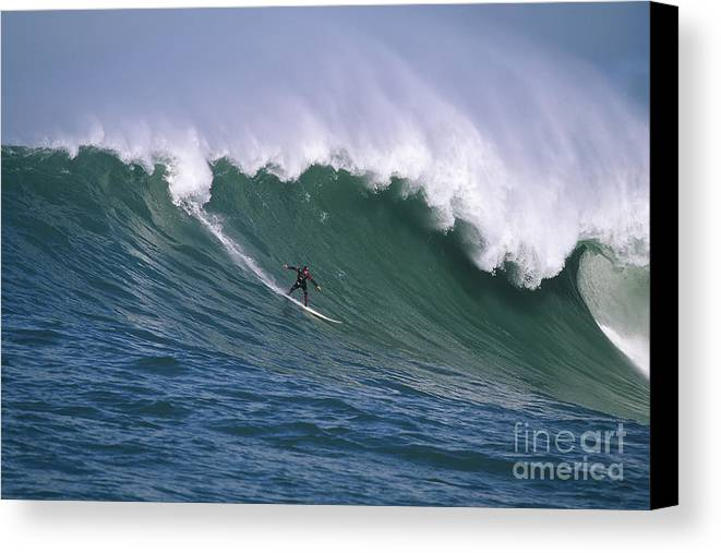 Mavericks Canvas Print featuring the photograph Pete On A Perfect Day At Mavericks by Stan and Anne Foster