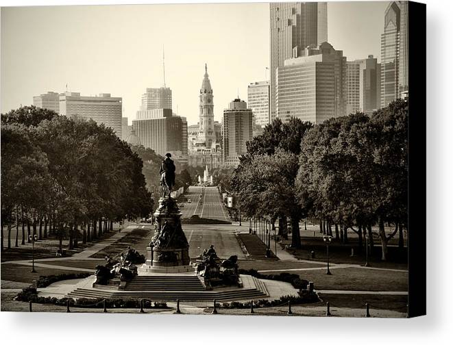 Philadelphia Canvas Print featuring the photograph Philadelphia Benjamin Franklin Parkway In Sepia by Bill Cannon