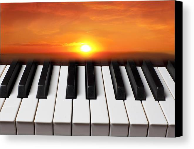 Piano Keys Canvas Print featuring the photograph Piano Sunset by Garry Gay