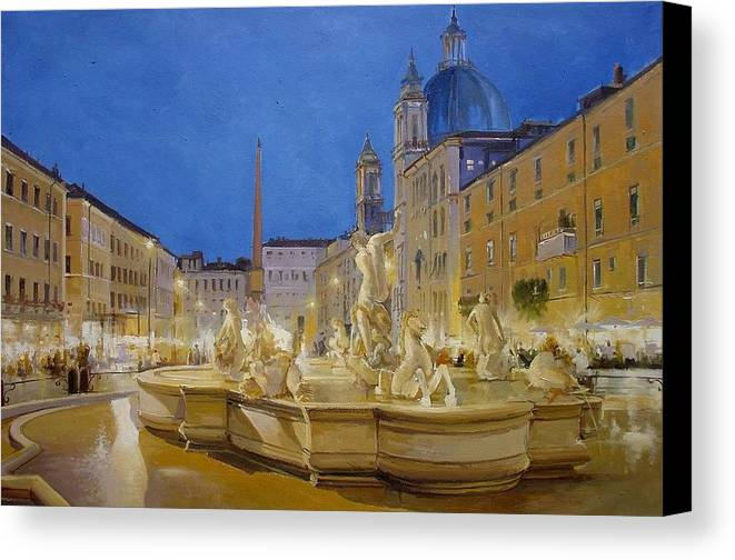 Italy Canvas Print featuring the painting Piazza Navona, Rome by Lucio Campana