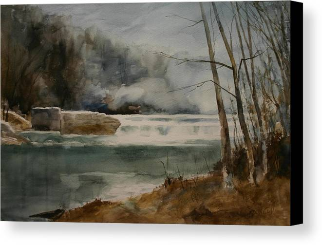 Landscape Canvas Print featuring the painting Picketts Dam by Don Cull
