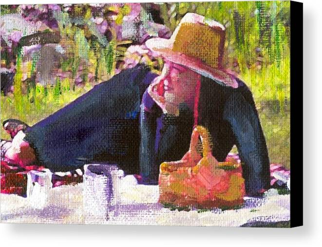 Canvas Print featuring the painting Picnic By The Lake With Laurel by Randy Sprout