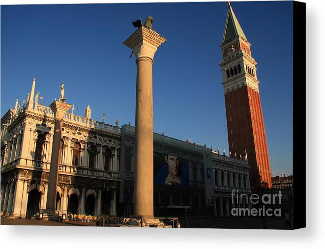 Venice Canvas Print featuring the photograph Pillars And Bell Tower At San Marco In Venice by Michael Henderson