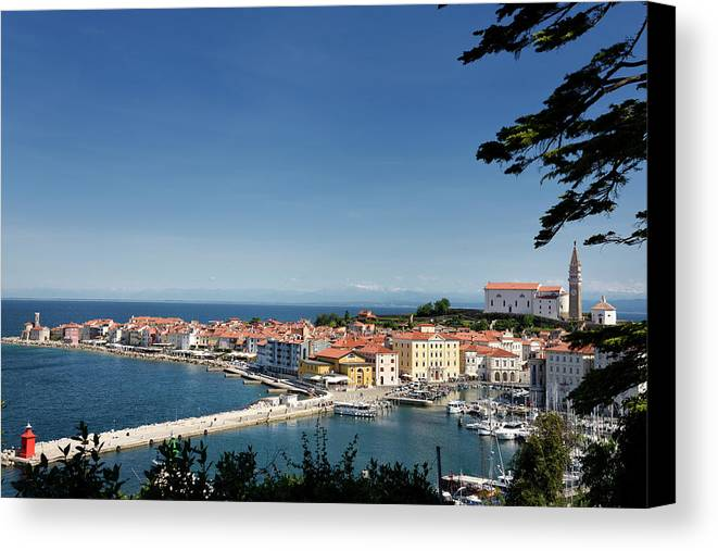 Piran Canvas Print featuring the photograph Piran Slovenia Gulf Of Trieste On The Adriatic Sea From The Punt by Reimar Gaertner