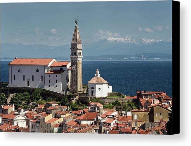 Piran Canvas Print featuring the photograph Piran Slovenia With St George's Cathedral Belfry And Baptistery by Reimar Gaertner