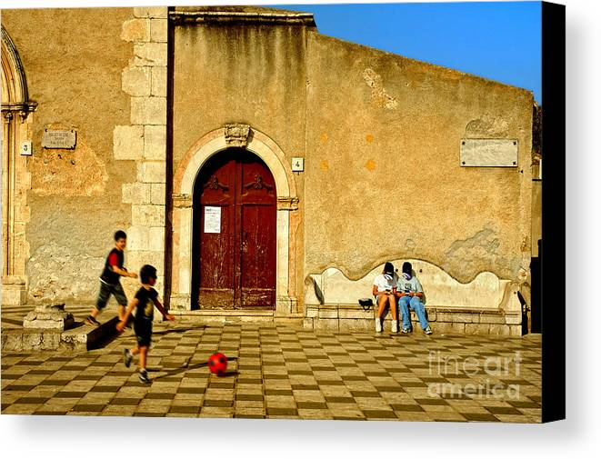Antique Canvas Print featuring the photograph Playing In Taormina by Silvia Ganora