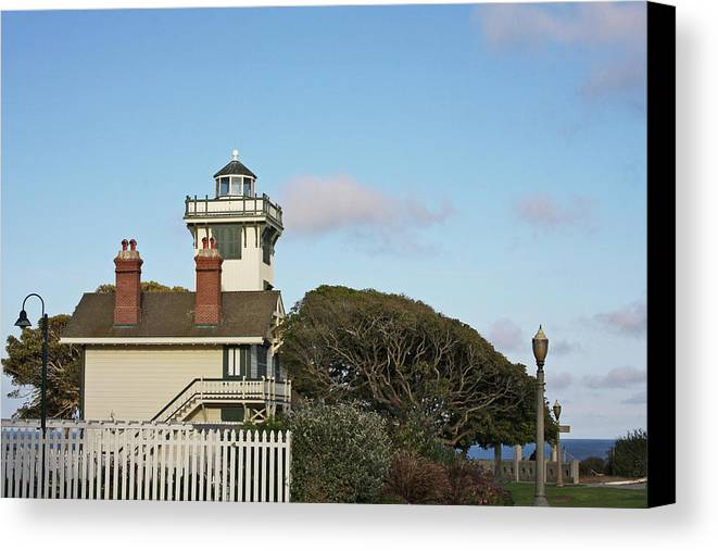 Point Fermin Lighthouse Canvas Print featuring the photograph Point Fermin Light - An Elegant Victorian Style Lighthouse In Ca by Christine Till