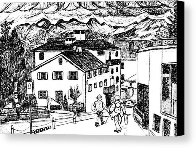 Switzerland Canvas Print featuring the drawing Pontresina Switzerland by Monica Engeler