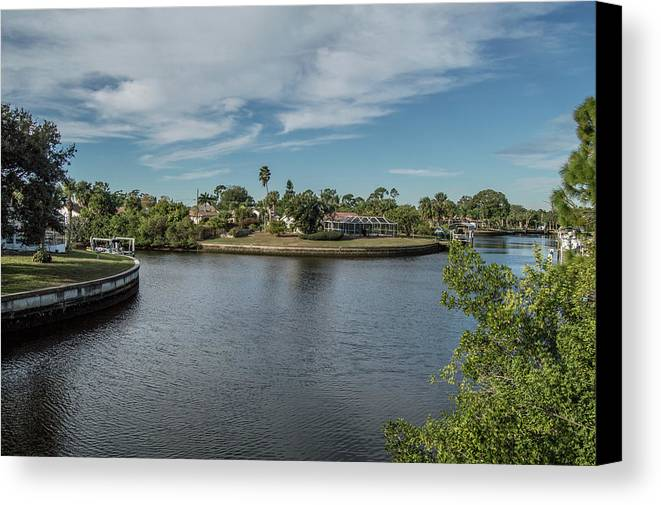 Florida Canvas Print featuring the photograph Port Charlotte Adhenry Waterway From Midway by Don Kerr