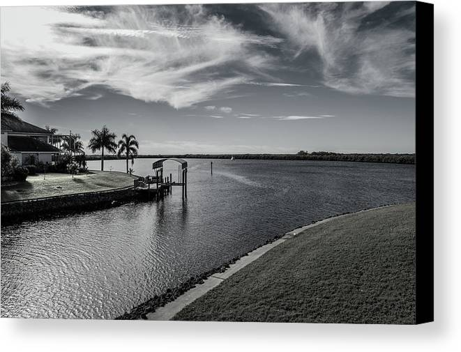 Florida Canvas Print featuring the photograph Port Charlotte Bay Harbor Waterway From Ohara by Don Kerr