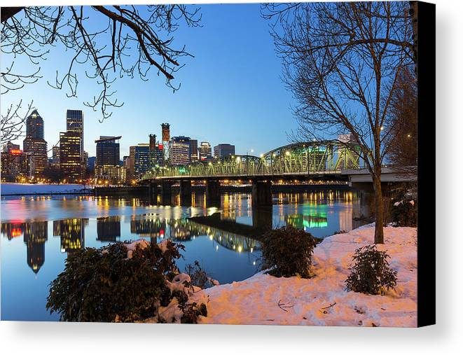 Portland Canvas Print featuring the photograph Portland Downtown Winter Night Scene by Jit Lim