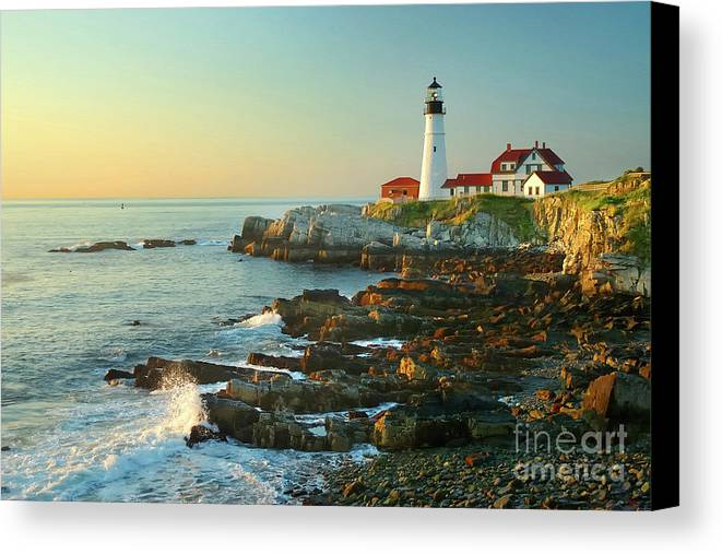 Coastline Canvas Print featuring the photograph Portland Head Light No. 2 by Jon Holiday