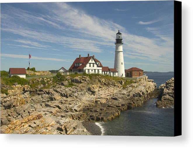 Lighthouse Canvas Print featuring the photograph Portland Head Lighthouse by Mike McGlothlen