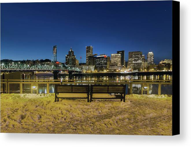 Portland Canvas Print featuring the photograph Portland Skyline View From Eastbank Esplanade by Jit Lim